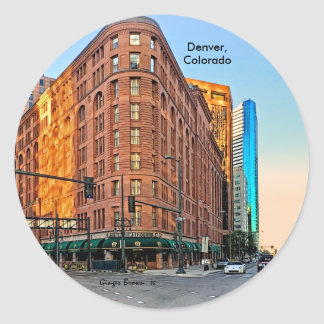 Majestic Brown Palace Hotel At Sunset, Denver, CO Classic Round Sticker