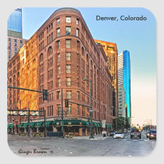 Majestic Brown Palace Hotel At Sunset, Denver, CO Square Sticker