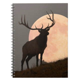 Majestic Bull Elk and Full Moon Rise Notebook
