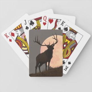 Majestic Bull Elk and Full Moon Rise Playing Cards