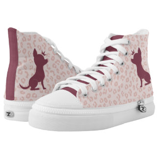 Majestic Chihuahua on Pink Leopard Print High Tops