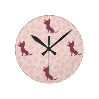 Majestic Chihuahua on Pink Leopard Print Wallclocks