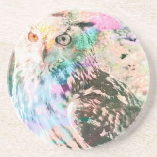 Majestic Eagle Owl Digital Watercolor Coaster