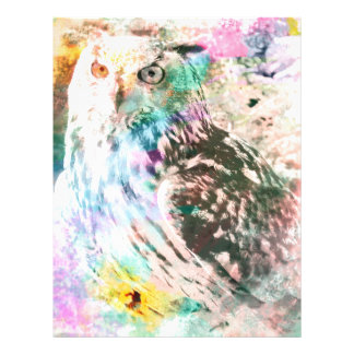 Majestic Eagle Owl Digital Watercolor Letterhead