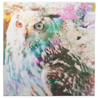 Majestic Eagle Owl Digital Watercolor Napkin