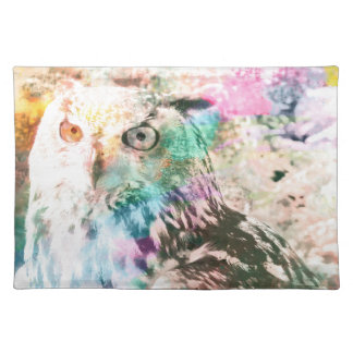 Majestic Eagle Owl Digital Watercolor Placemat
