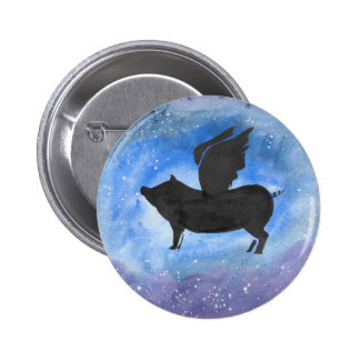 Majestic Flying Pig 2 Inch Round Button
