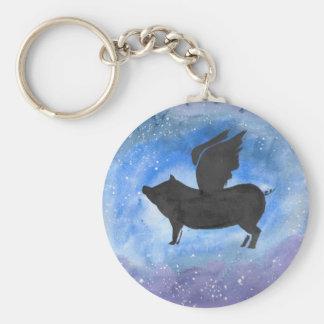 Majestic Flying Pig Basic Round Button Keychain
