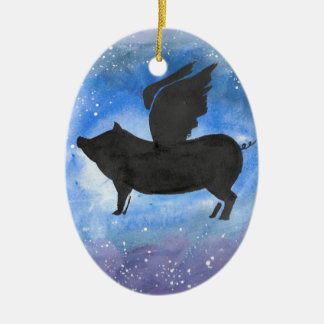 Majestic Flying Pig Ceramic Oval Ornament