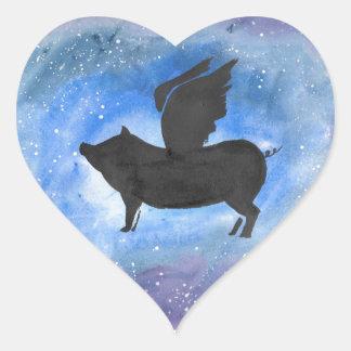 Majestic Flying Pig Heart Sticker
