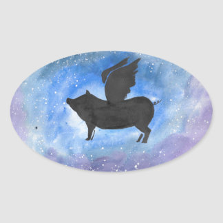 Majestic Flying Pig Oval Sticker