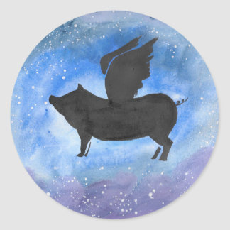 Majestic Flying Pig Round Sticker