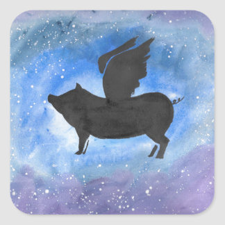 Majestic Flying Pig Square Sticker