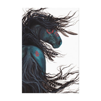 Majestic Friesian Horse by Bihrle Gallery Wrap Canvas