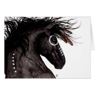 Majestic Friesian Horse Native American by BiHrLe Card