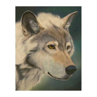 Majestic Gray Wolf Wood Wall Art Wood Canvas