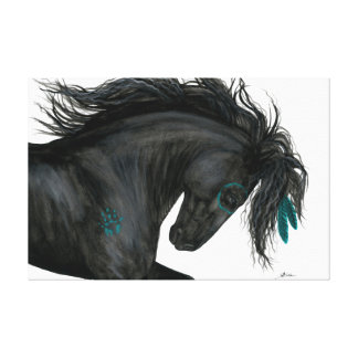 Majestic Horse Turquoise Feathers by Bihrle Canvas Print