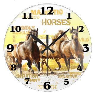 Majestic Horses Round Wall Clock - Large
