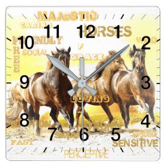 Majestic Horses Square Wall Clock