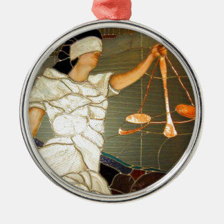 Majestic Lady Justice in Stained Glass Design Silver-Colored Round Ornament