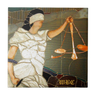 Majestic Lady Justice in Stained Glass Design Tile