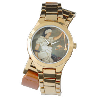 Majestic Lady Justice Portrait in Stained Glass Watch