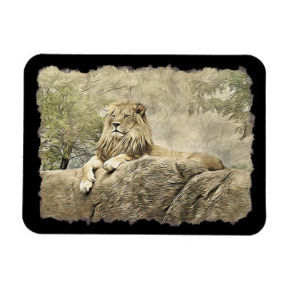 Majestic Lion sitting on a Cliff Mamet Magnet