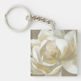 Majestic Magnolia Double-Sided Square Acrylic Keychain