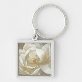 Majestic Magnolia Silver-Colored Square Keychain