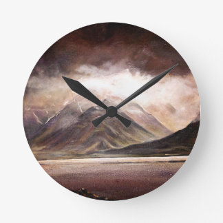 Majestic mountain scene of Iceland in a clock