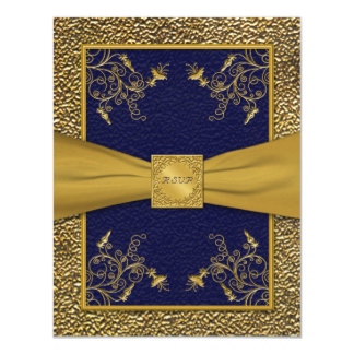Majestic Navy and Gold RSVP Card