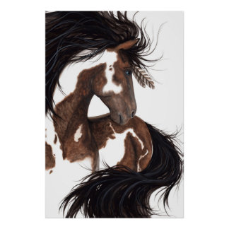 Majestic Paint Pinto Art Poster Horse by Bihrle