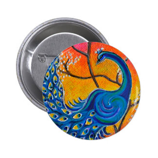 Majestic Peacock 2 Inch Round Button
