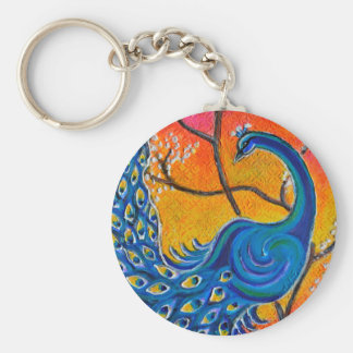 Majestic Peacock Basic Round Button Keychain