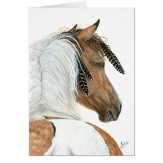 Majestic Pinto Horse by BiHrLe Greeting Card