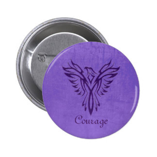 Majestic Purple Phoenix Rising, leather texture 2 Inch Round Button