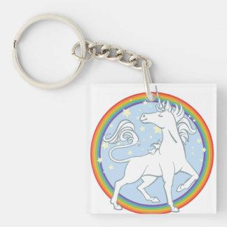 Majestic Sparkle Rainbow Unicorn Double-Sided Square Acrylic Keychain