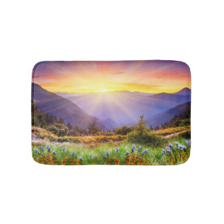 Majestic sunset in the mountains landscape bathroom mat