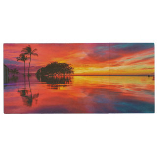 Majestic Sunset | Wailea Beach, Maui, Hawaii Wood USB 2.0 Flash Drive