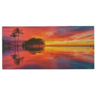 Majestic Sunset | Wailea Beach, Maui, Hawaii Wood USB Flash Drive