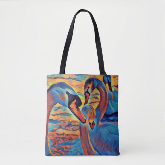 Majestic Swans Swimming Art Tote Bag