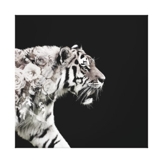 Majestic Tiger Roses Double Exposure Photo Canvas Print