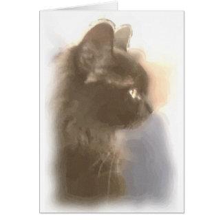 Majestic watercolor black cat card