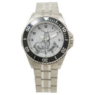 Majestic Whitetail Deer Illustration Watch