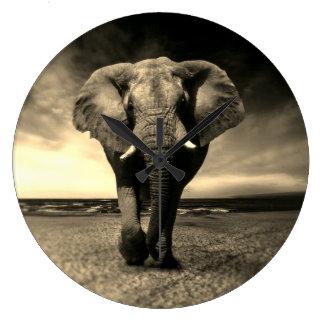 Majestic Wild Bull Elephant in Sepia Large Clock