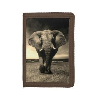 Majestic Wild Bull Elephant in Sepia Tri-fold Wallet
