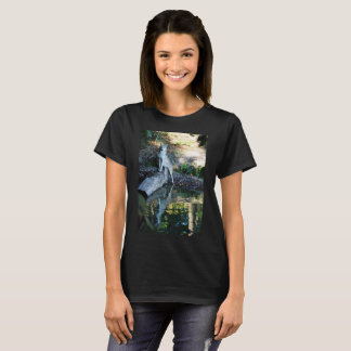 Majestic Wolf Standing on Fallen Log on Lake T-Shirt