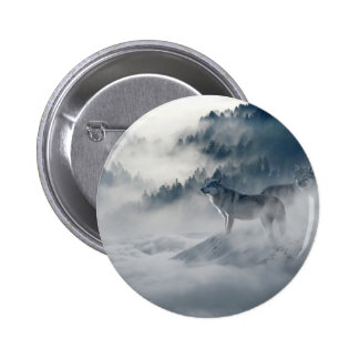 Majestic Wolves in the Forest Mist 2 Inch Round Button