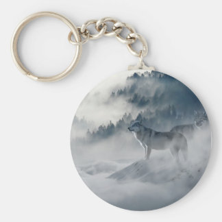 Majestic Wolves in the Forest Mist Basic Round Button Keychain