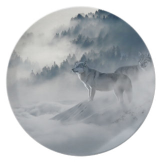 Majestic Wolves in the Forest Mist Party Plates